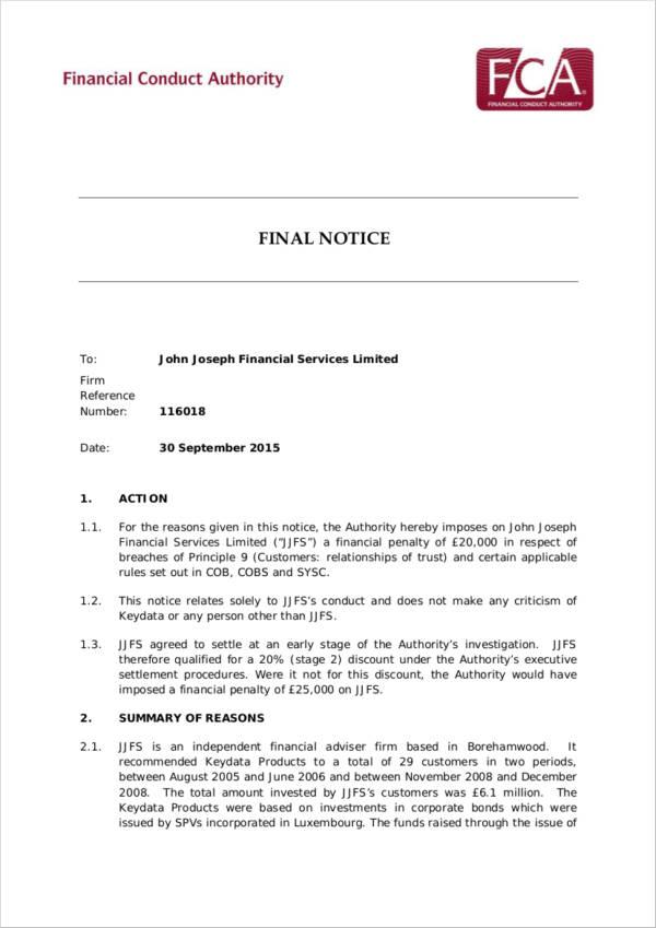 financial service final notice