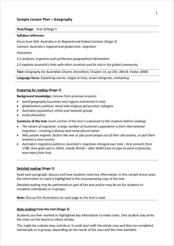 9  lesson planner samples