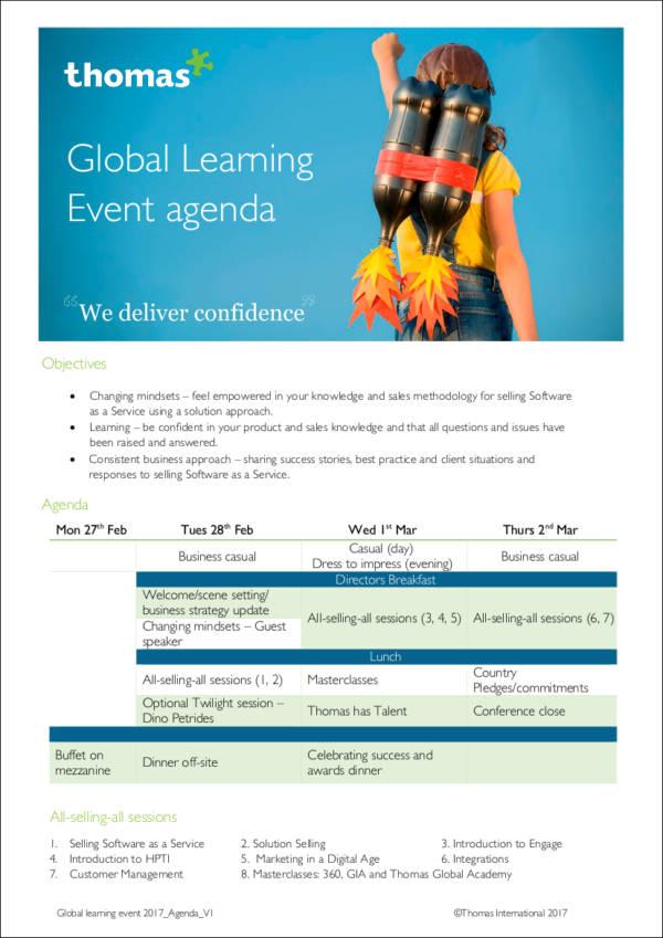 global learning event agenda sample
