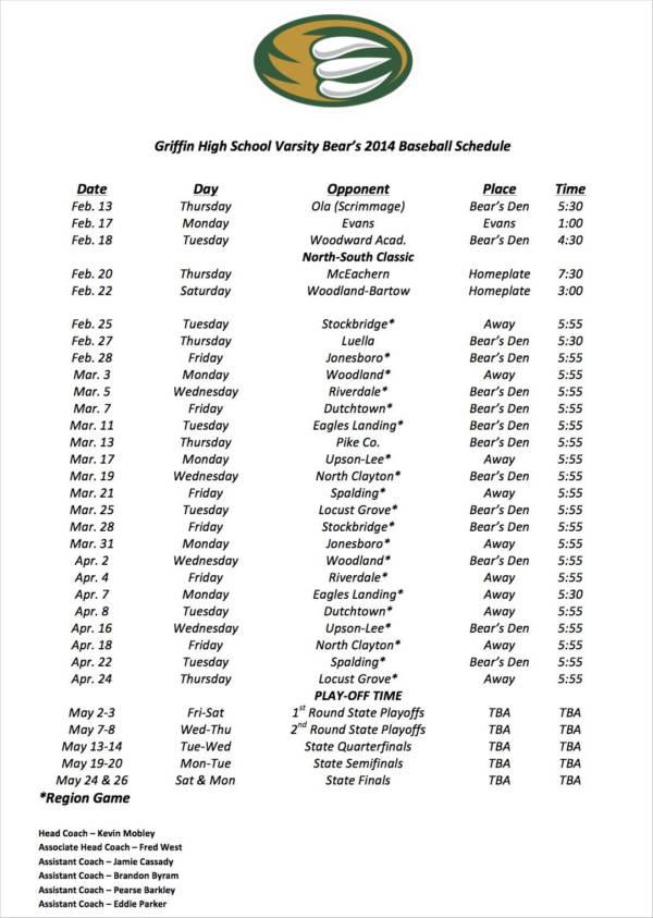 high school baseball game schedule
