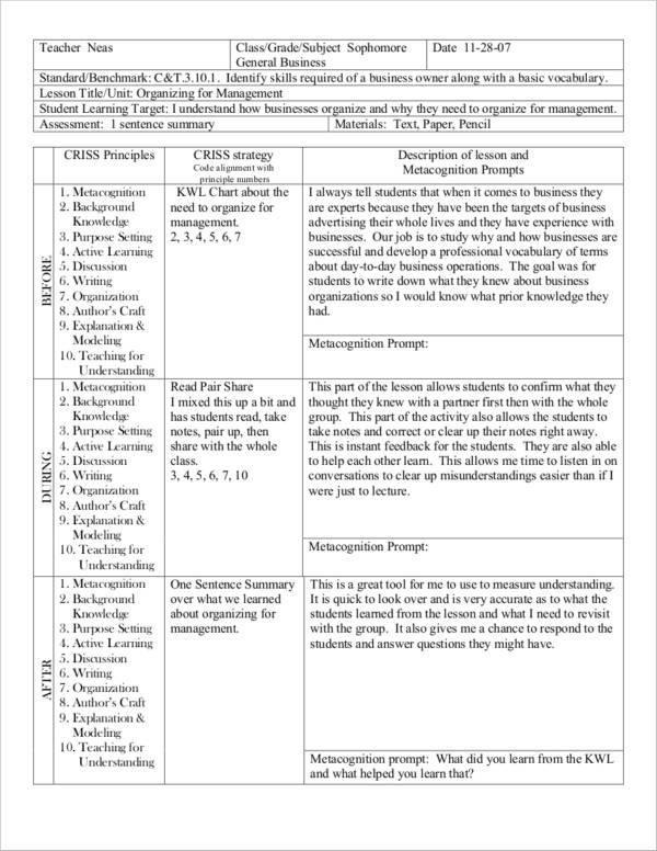high school business lesson plan sample