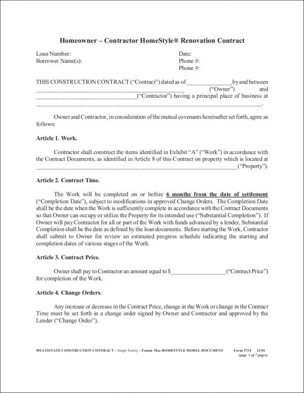 homestyle renovation contract template
