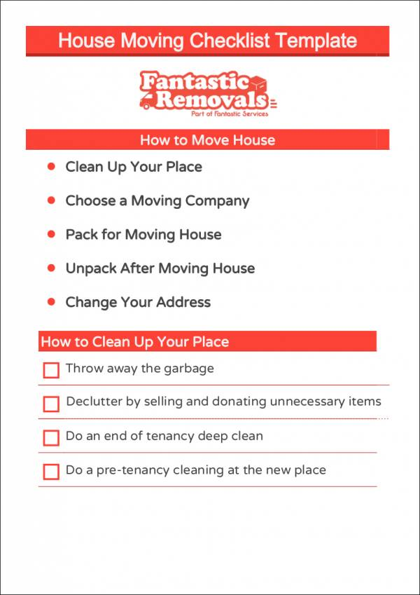 house moving checklist template