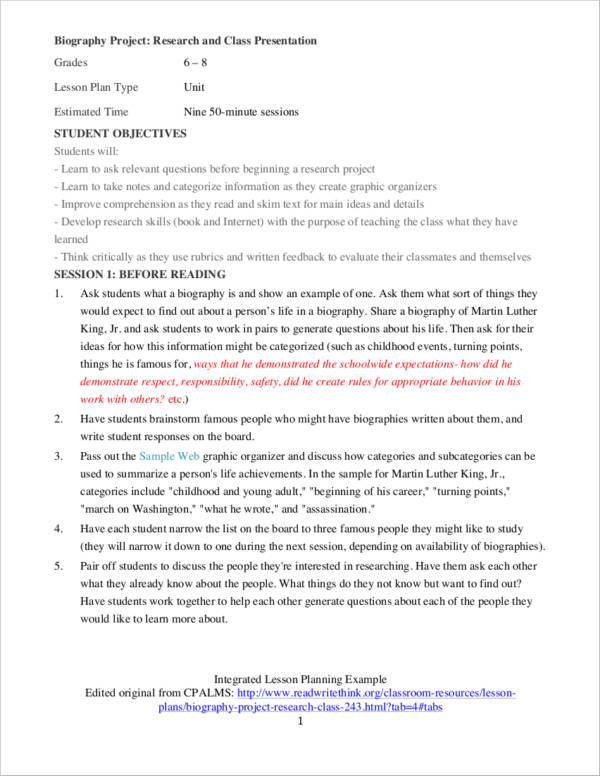 integrated lesson planning sample