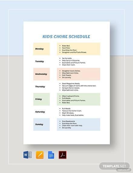 kids chore schedule template1