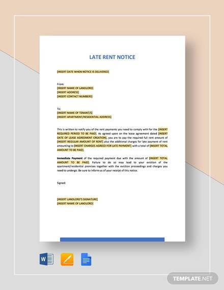 Late-Rent  Day Tenant Notice Letter Template on lease termination letter, vacate california, sample letter, intent vacate,
