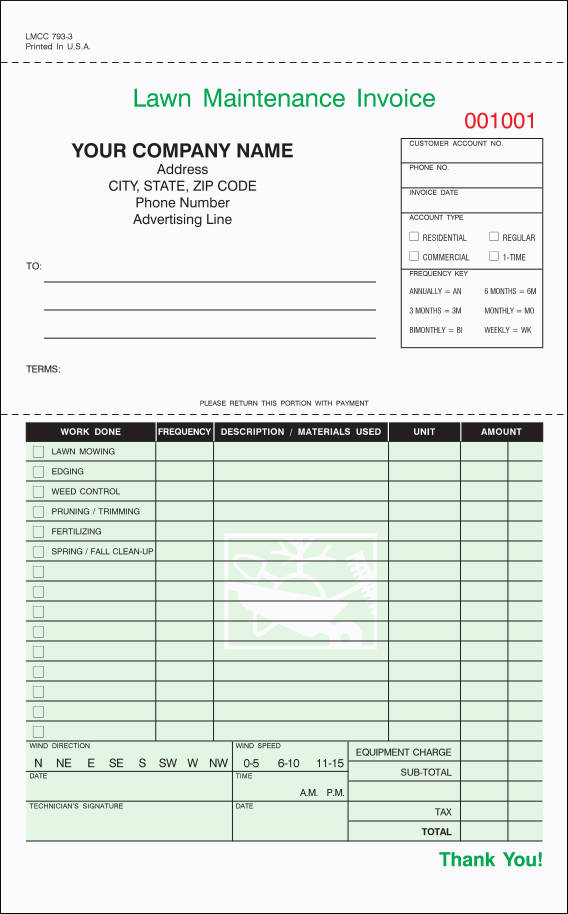 lawn caremaintenance invoice sample