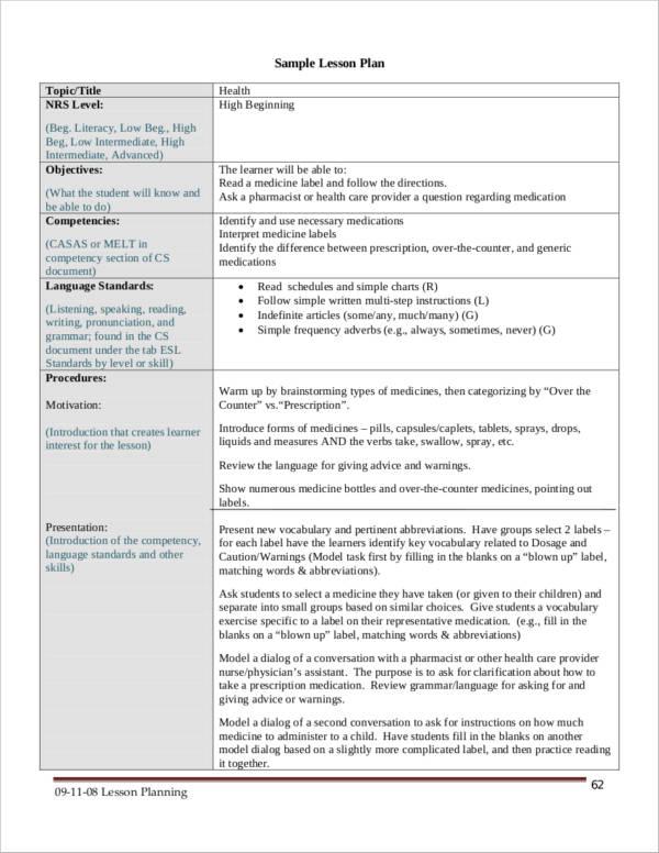 lesson plan sample for health