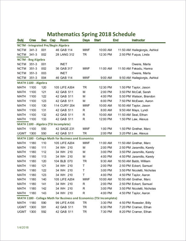 mathematics lessons schedule sample