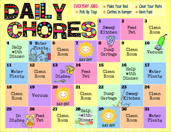monthly chore schedule template for kids