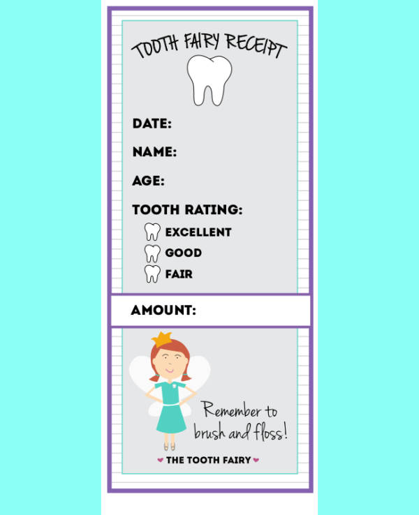 picture about Free Printable Tooth Fairy Receipt identify Free of charge 9+ Enamel Fairy Receipt Samples Templates PDF