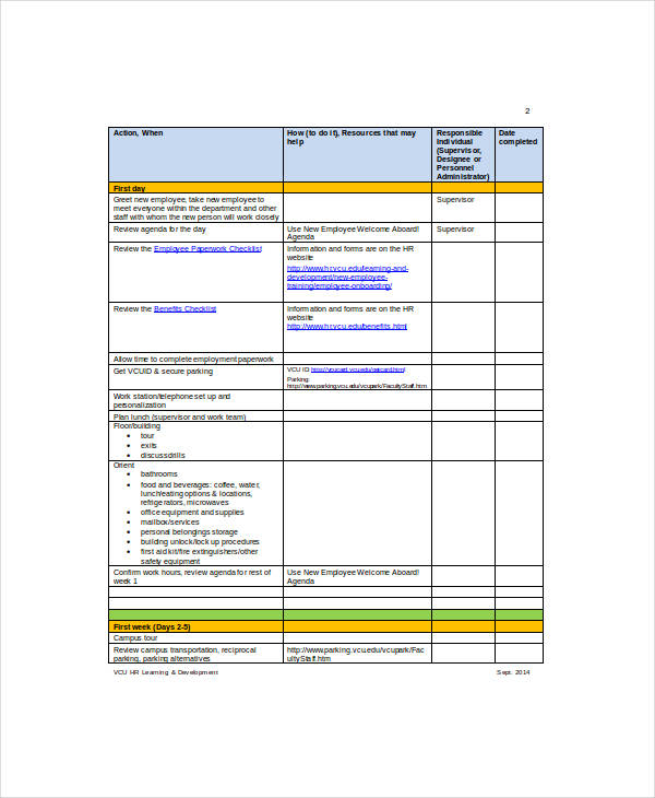 Employee Checklist Samples  Templates  Word Pdf