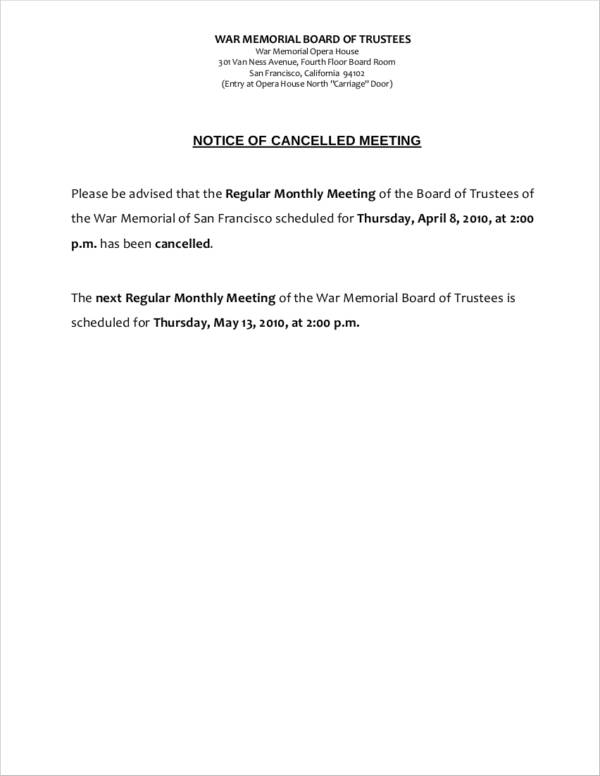 Cancelled meeting notice letter