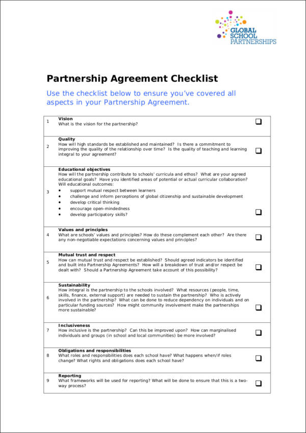 partnership agreement checklist in pdf