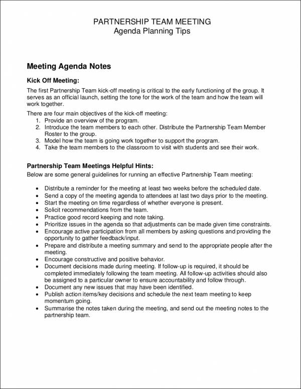partnership team meeting agenda sample