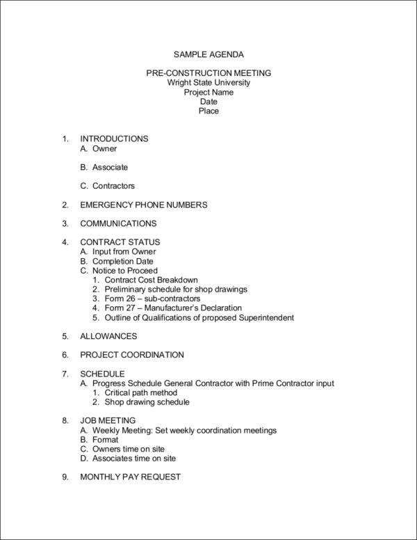 pre construction meeting agenda sample