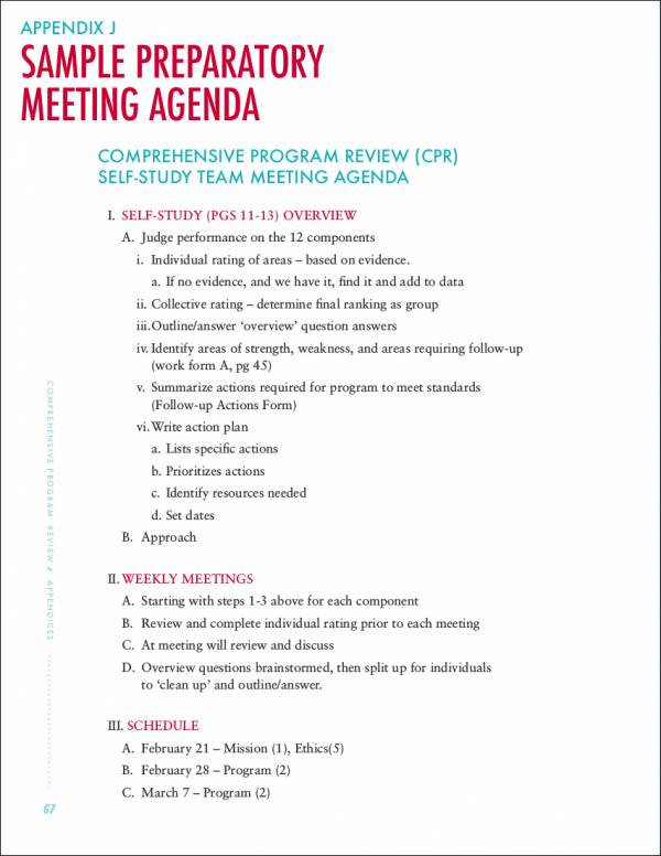 preparatory meeting agenda sample