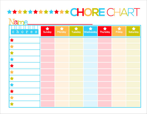 printable chore schedule template for kids