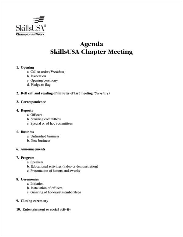 printable meeting agenda sample
