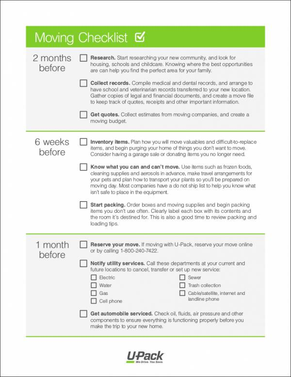 printable moving checklist template