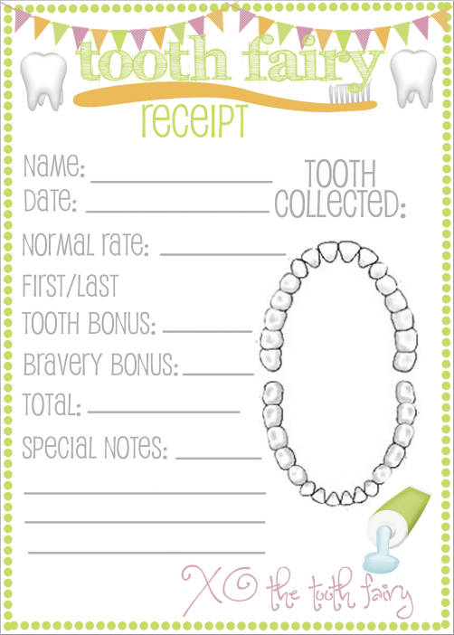 picture regarding Tooth Fairy Printable named Cost-free 9+ Teeth Fairy Receipt Samples Templates PDF