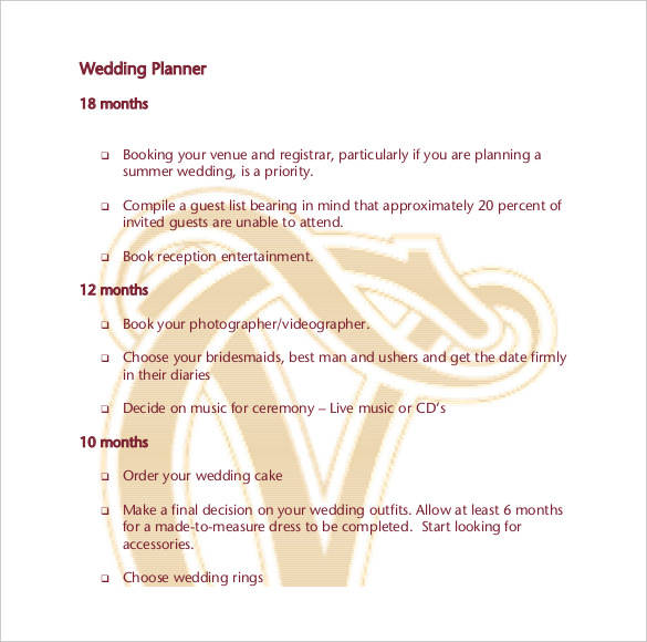 printable wedding planner template