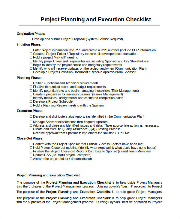 project planning and execution checklist