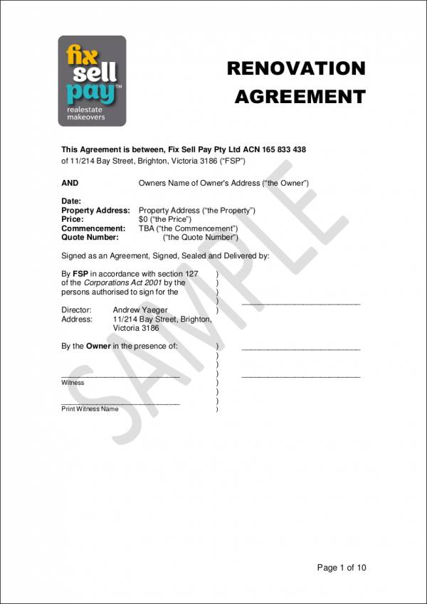 renovation agreement contract sample