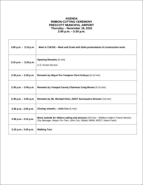 ribbon cutting event agenda template
