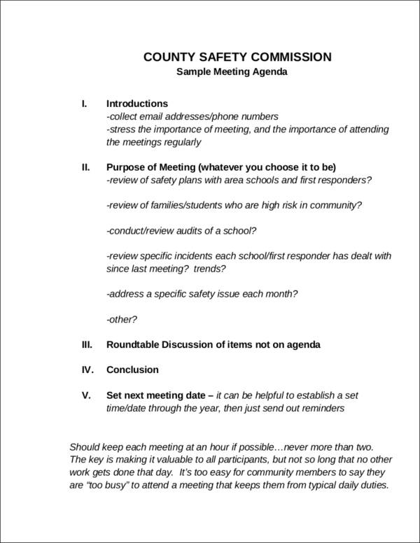 safety commission meeting agenda sample