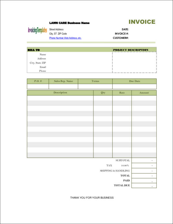 sample blank lawn care invoice template