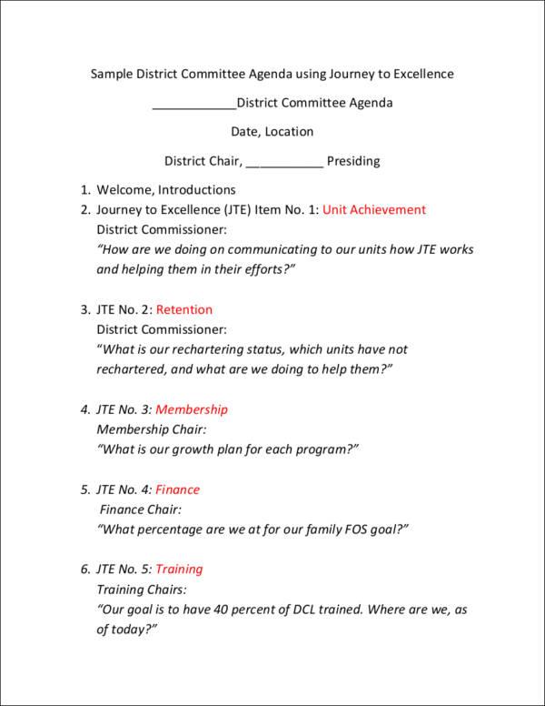 sample district committee meeting agenda
