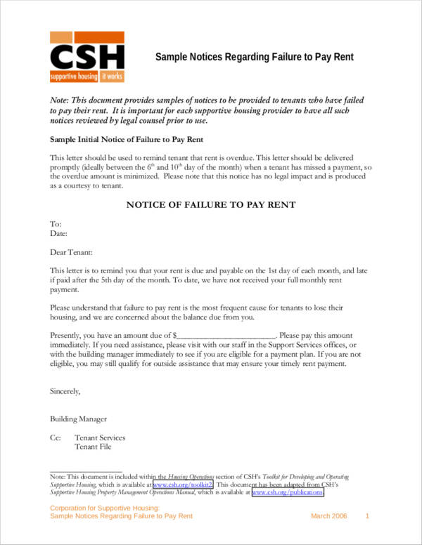 sample final notice of failure to pay rent