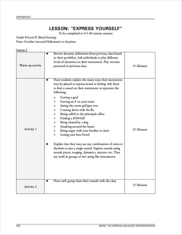 sample lessons plans with sample templates