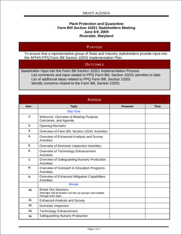 sample meeting agenda draft