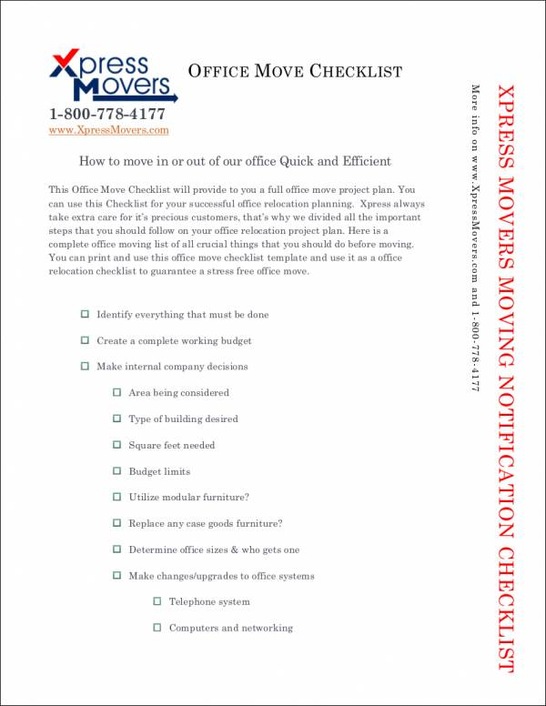 Moving Checklist Samples And Templates  Pdf