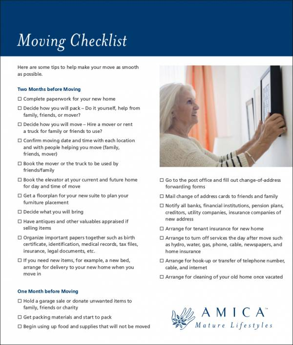 sample moving checklist in pdf