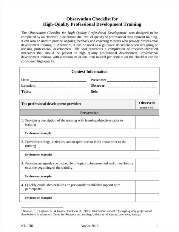 sample observation checklist for high quality professional development training