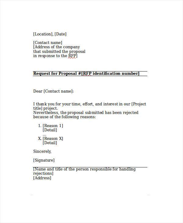 sample proposal rejection letter