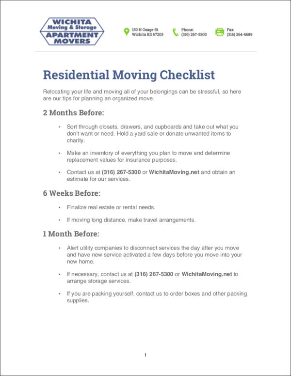 sample residential moving checklist template