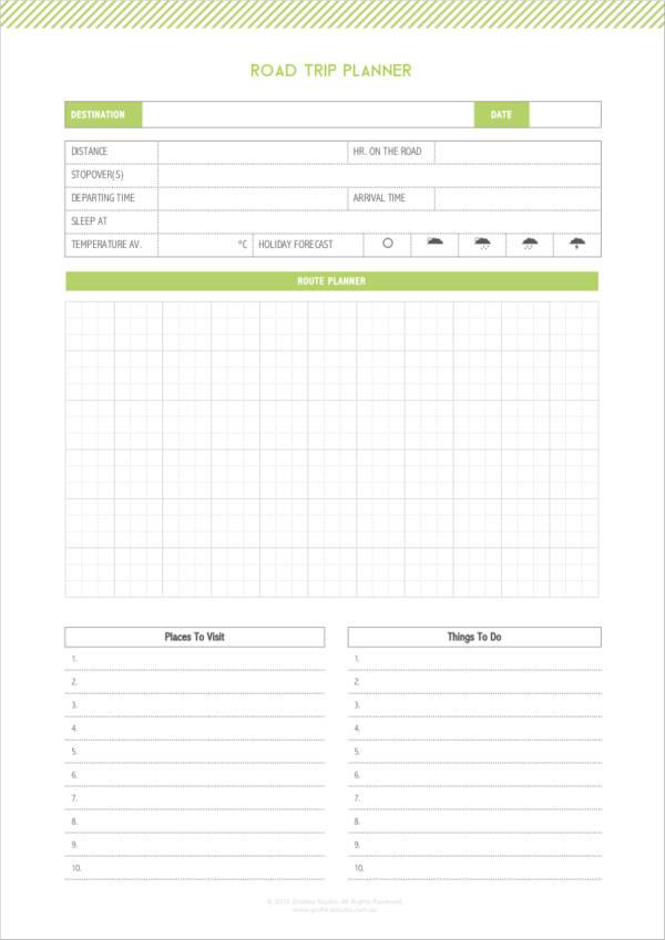Road Trip Planner >> 5 Road Trip Planner Samples Templates Pdf