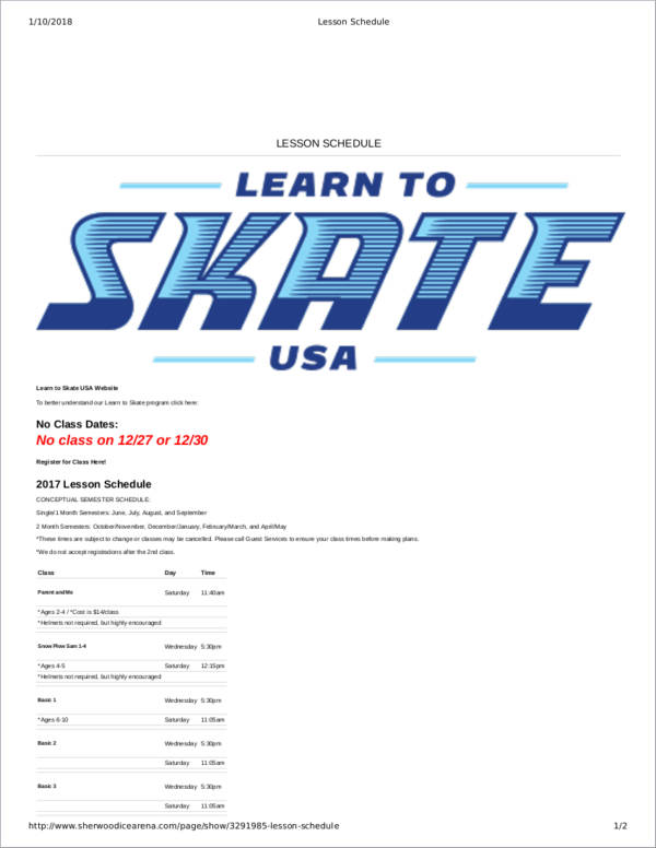 sample skating lesson schedule