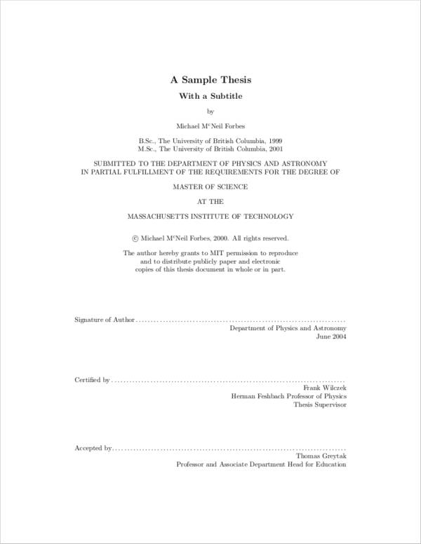 sample thesis writing paper
