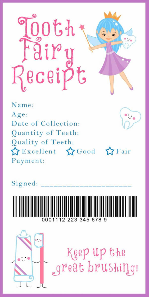 sample tooth fairy receipt with barcode