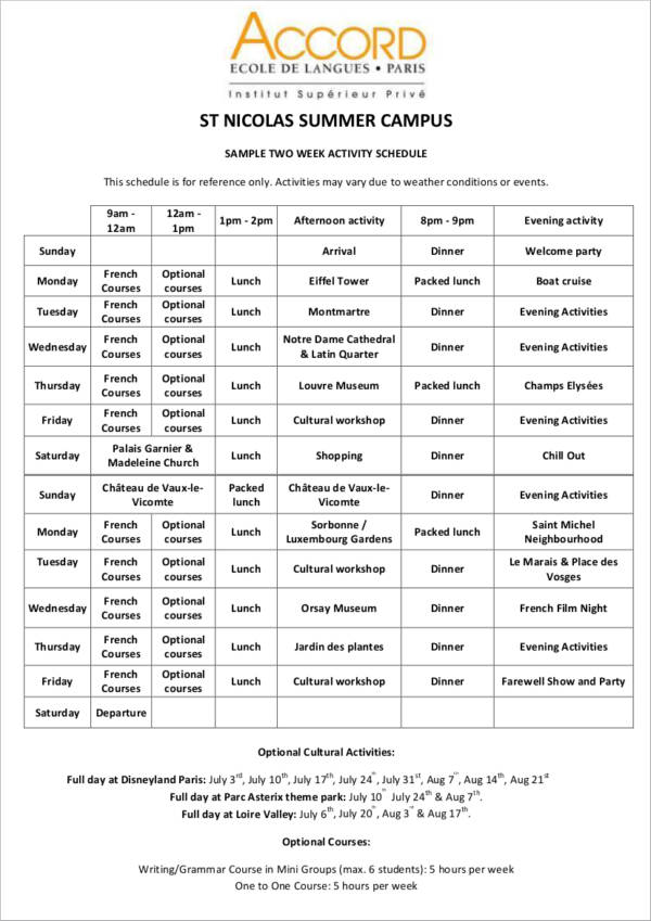 sample two week activity schedule