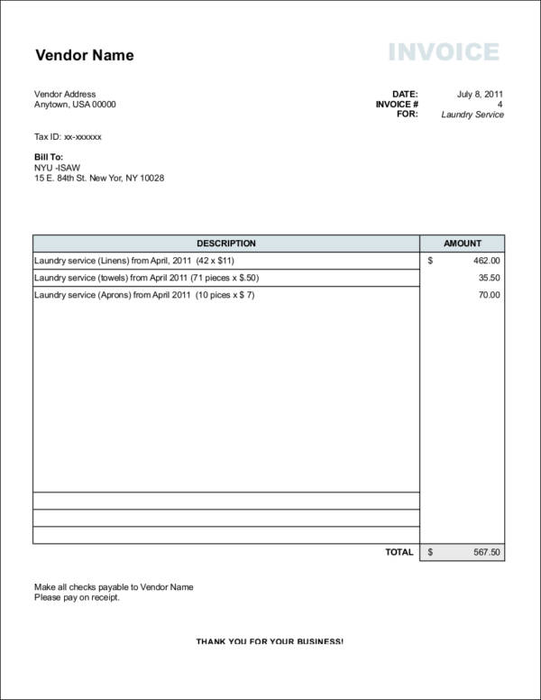 sample vendor invoice for laundry services