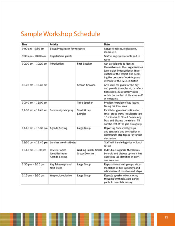 sample workshop activity schedule