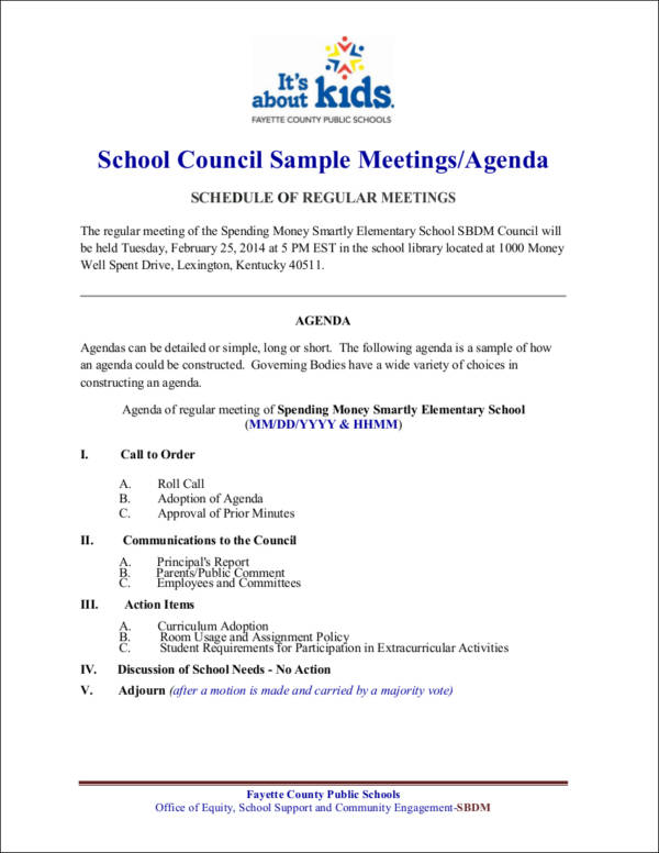 school council sample meeting agenda