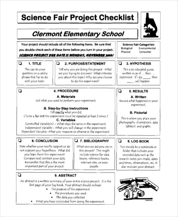science fair project checklist sample