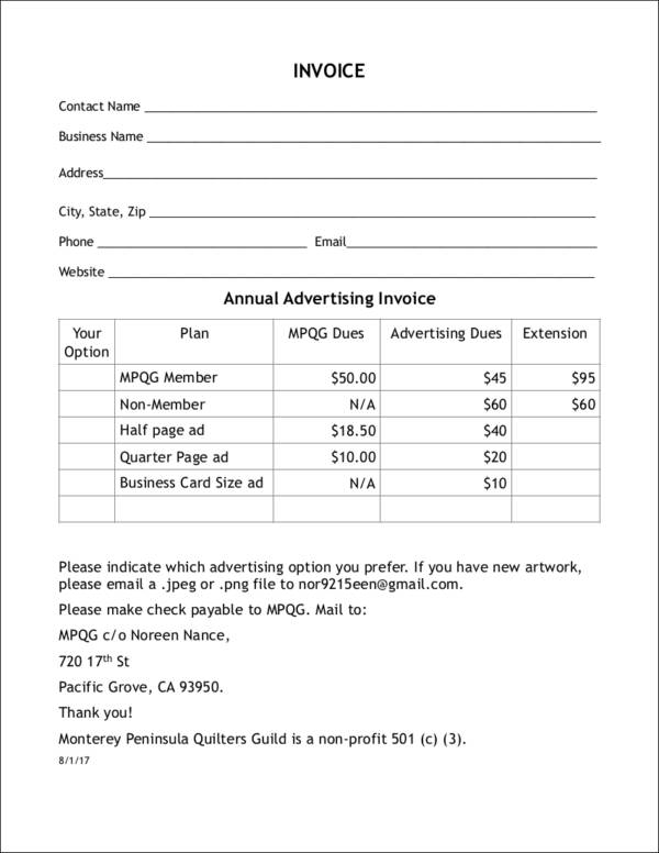 simple advertising invoice template